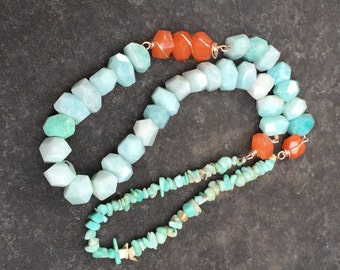 Amazonite and Orange Jade Wire Wrapped Necklace   Rustic Southwestern    Cowgirl Necklace  Statement Necklace  Colorblock Jewelry
