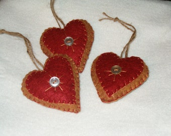 Prim Felt and button hearts, bowl fillers ,ornies, AB4B, OFG Team