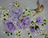 Canvas Art Hand Painted Lilac Purple Roses Hummingbird Painting Wall Decor