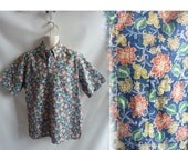 Vintage 90s Shirt Size L Navy Blue Inside Out Hawaiian Floral Flowers Tiki Luau 80s