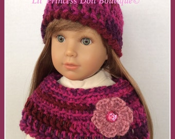 Crochet Capelet and Hat, Shades of Fuchsia, Fits Kidz n Cats 18 Inch Doll