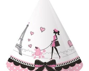 8 Party Hats, Paris Party Hats, Paris Theme Party, Eiffel Tower, Paris Decorations, Birthday Party, Bachelorette Party, Sweet 16