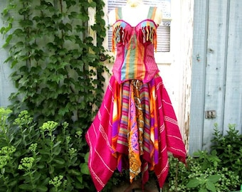 Brilliant One of a Kind Bohemian Gypsy Bustier Corset Dress// Reconstructed// emmevielle