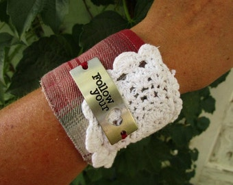 Follow Your Heart Doily Plaid Flannel Cuff Bracelet// Upcycled// emmevielle