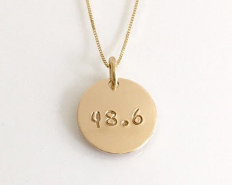 Celebrate Your Accomplishments - 14K Gold Marathon Necklace for Runners 48.6 or 13.1 - 26.2 - 10K - 5K