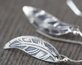 Feather earrings sterling silver feather earrings boho earrings nature earrings