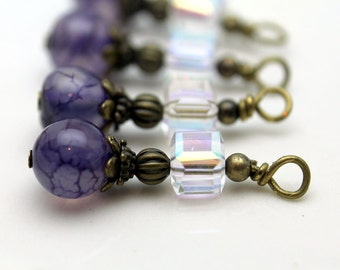 Vintage Style Purple Marbelized and Square Clear Cube AB Bead Earring Dangle Charm Drop