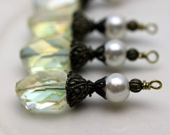 Antiqued Clear Oval Hexagon Faceted Crystal and Pearl  Wedding Bead Earring Dangle, Necklace Pendant Charm Drop Set