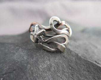 Starfish Kelp ring. silver starfish and silver and copper kelp ooak handmade mixed metal kelp ring size 7 ready to ship