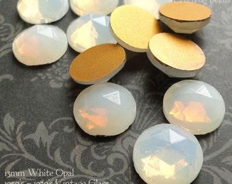 Vintage Cabochons - 13 mm Facet White Opal -  6 West German Faceted Glass Stones