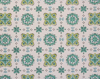 1960's Vintage Wallpaper Aqua and Green Geometric on White