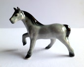 Grey Horse Miniature Ceramic Porcelain Figurine Glossy Finish Collectible Gifts Collectible