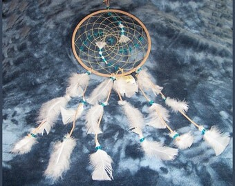 Dream Catcher With Blue Stone Dolphin Charm, Tan Leather, White Feathers