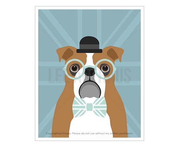 15F Dog Art - English Bulldog with Blue Union Jack Flag Wall Art - British Bulldog Print - British Flag Wall Art - Blue and Gray Dog Print