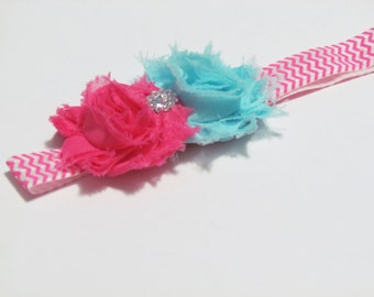Hot Pink and White Chevron Elastic Headband with Aqua and Hot Pink Shabby Chic Hair Flowers - baby girl ages 3-12 months Ready To Ship