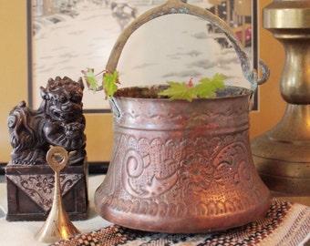 vintage copper pot - metal planter with brass handle