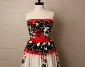 RESERVED Vintage 1980's Victor Costa Red White Black Floral Strapless Maxi Dress M