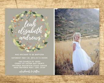 lds baptism invitation, girl baptism invitation, printable baptism announcement - vintage floral announcement