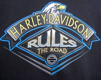 vintage 1990s HARLEY davidson black t-shirt RULES the road EAGLE two sided soft U S A small desert chic motorcycle biker easy rider metal