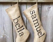 Personalized Burlap Christmas Holiday Stockings with Black Lettering