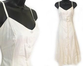 90s Ivory Sundress Spaghetti Strap Michael Kors Cotton Dress M
