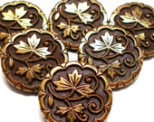 40s Lacy glass BUTTONS, Brown glass with Art Nouveau leaves, set of 6.