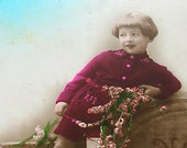 1920s French postcard, Child in red jumper, RPPC, real photo, paper ephemera.