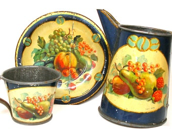 1900s Tin Toy Tea Set, Fruit with blue, 3 pieces Made in Germany.