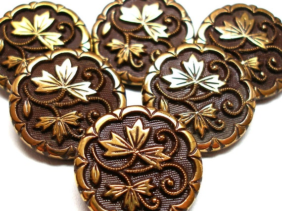 40s Lacy Glass Buttons Brown Glass With Art Nouveau Leaves