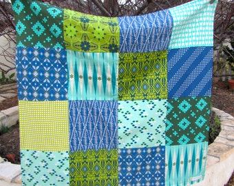 Teal and Green Geometric Baby Boy Blanket Ready to Ship