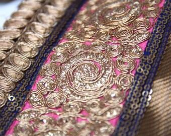 Sari Border Trim, Gold Lame and Zari Work,  Floral Scroll Zari Trim, Saree Borders, Gopi Skirts, Belly Dance Costumes 1yard Gold Sari Border