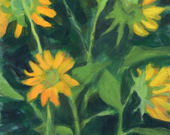 Four Sunflowers, Concord, MA - landscape, original fine art, small affordable wall decor by Irene Stapleford - wantknot shop