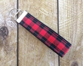 Key Fob - Keychain - Key Chain - Buffalo Plaid - Black & Red - Teacher Gift
