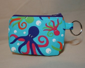 Purple and Orange Octopus Zipper Pouch - Small Coin Purse or Dice Bag
