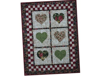 Wall Hanging Quilted Appliquéd Hearts Country Chic