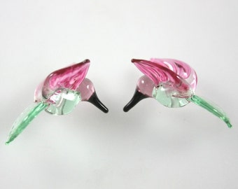Lampwork Beads Glass Hummingbird Beads Peacock Green and Cranberry Pink Hummingbird Beads RC Art Glass