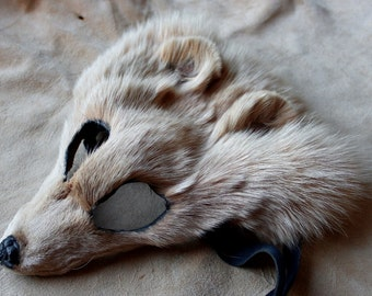 Real eco-friendly beige dyed Arctic fox fur mask - shaped and glasses friendly - for ritual, dance, costume and more
