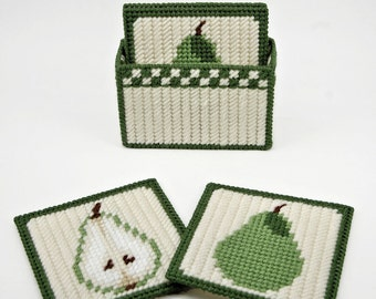 PATTERN: Country Pears Coasters Pattern in Plastic Canvas