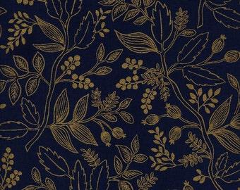 Queen Anne Navy Metallic  - Les Fleurs - Anna Bond Rifle Paper Co - Cotton + Steel - 8005-03
