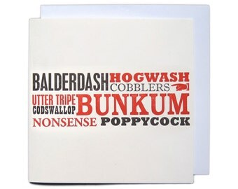 Letterpress Typeset Greetings Card - Balderdash