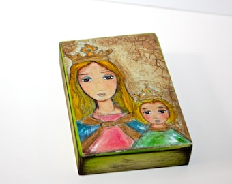 María Auxiliadora - Aceo Giclee print mounted on Wood (2.5 x 3.5 inches) Folk Art  by FLOR LARIOS