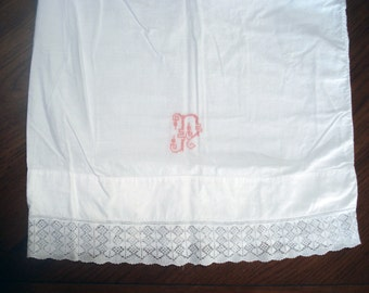 FOUND IN SPAIN -- Beautiful monogrammed vintage cotton pillowcases