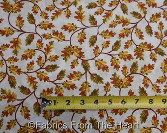 Autumn Harvest Fall Leaves Vines on Tan Cream BY YARDS Timeless Treasure Fabric