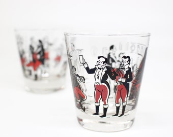 Vintage Libbey kitschy Fancy Gents rocks glasses . Set of 2 . Tuxedo pub party Lowball glasses . Great for housewarming gift or man cave