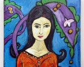 Portrait of a Woman with Black Hair - Original Acrylic Painting On Canvas