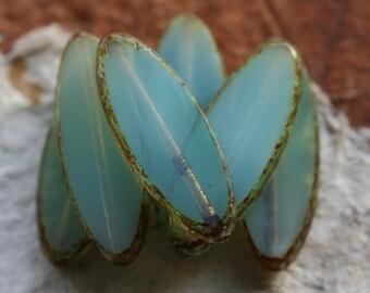 SKY OPAL PETALS .. New 6 Premium Picasso Czech Glass Petal Beads 21x8mm (4805-6)