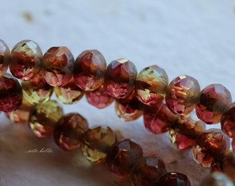 POMEGRANATE .. NEW 10 Premium Czech Glass Rondelle Beads 5x7mm (4993-10)