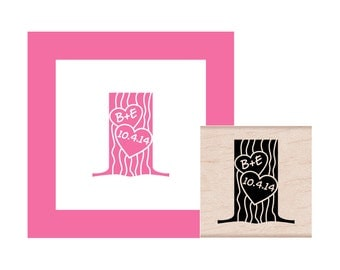 Carve Your Initials into a Tree with Special Date Personalized Rubber Stamp