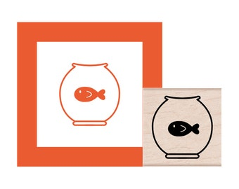 Goldfish in a Fish Bowl Rubber Stamp