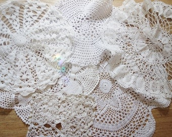 collection of 6 large doilies